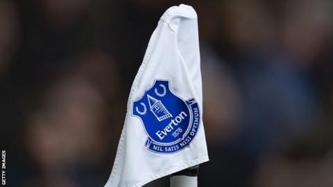 The Everton badge on a corner flag at Goodison Park