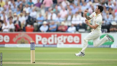 Mitchell Johnson bowls against England in an Ashes Test