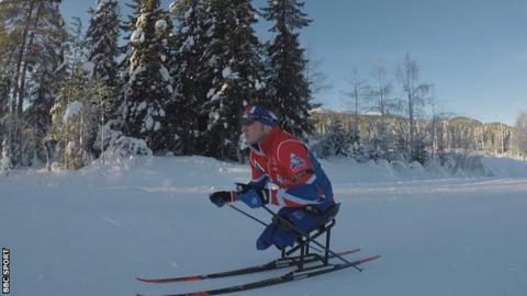 Scott Meenagh sit-skiing