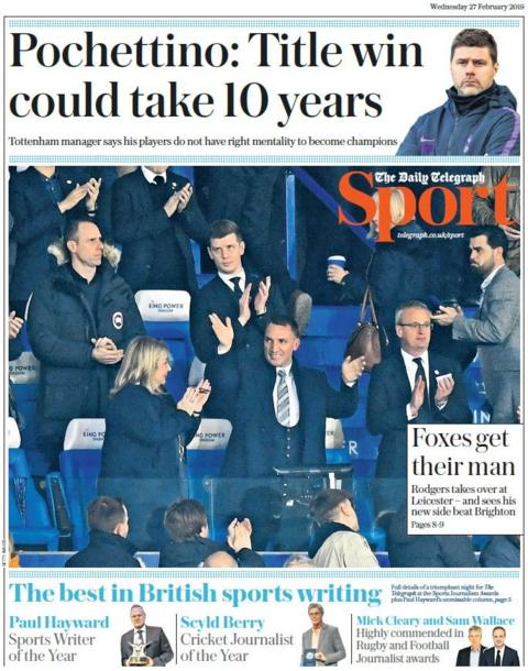 Telegraph back page on Wednesday