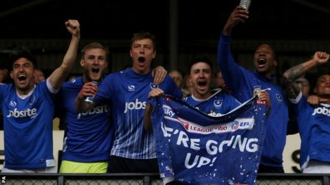 Portsmouth celebrate promotion from League Two