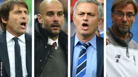 Antonio Conte, Pep Guardiola, Jose Mourinho and Jurgen Klopp