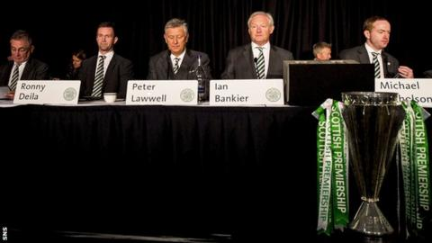 The Celtic manager and board members at last season's AGM