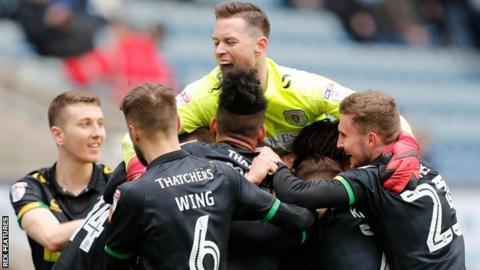 Yeovil celebrate their win at Coventry City