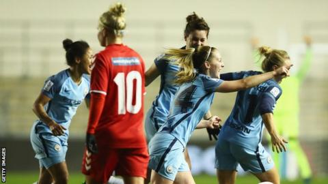 Keira Walsh (second right) of Manchester City Women celebrates her goal against Brondby