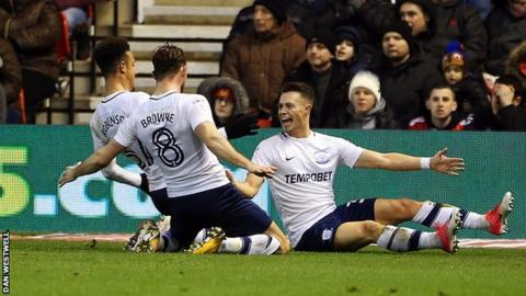 Billy Bodin celebrates scoring his first goal for Preston against Nottingham Forest
