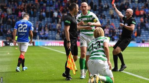 Rangers' Jordan Jones is sent off for his tackle on Celtic's Moritz Bauer