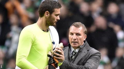 Craig Gordon speaks to Celtic boss Brendan Rodgers after their 6-1 win over Kilmarnock