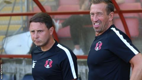 Ross Embleton and Justin Edinburgh on the sidelines at Leyton Orient