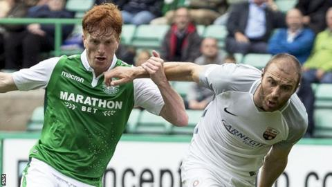 Montrose's Sean Dillon (right) battles with Hibs' Simon Murray