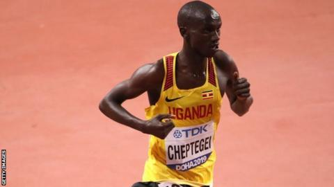 Joshua Cheptegei in a Uganda vest at the 2019 World Championships