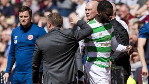 Odsonne Edouard was injured early in the second half at Tynecastle