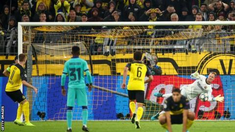 Marc-Andre ter Stegen saves Marco Reus' penalty
