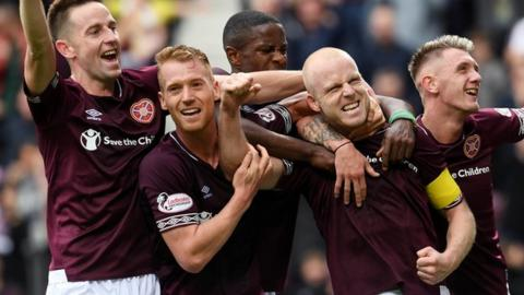 Steven Naismith, second right, has been a key player for Hearts this term