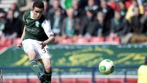 Alex Harris scored his first senior goal against Falkirk