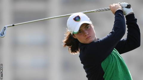 Leona Maguire watches her tee shot at the eighth hole in the Olympic Games final round