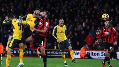 Olivier Giroud scores Arsenal's equaliser against Bournemouth