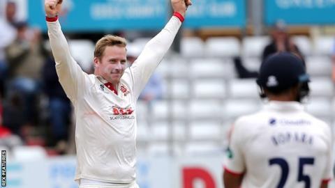 Essex bowler Simon Harmer celebrates taking the wicket of Kent batsman Darren Stevens