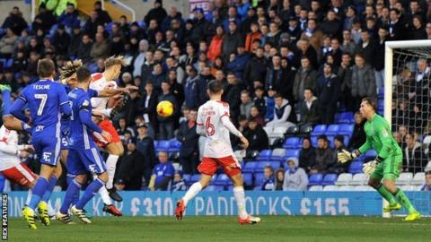 Marc Roberts headed Barnsley in front at St Andrew's with only his third goal for the club