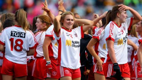 Tyrone celebrate after their nine-point victory over Meath