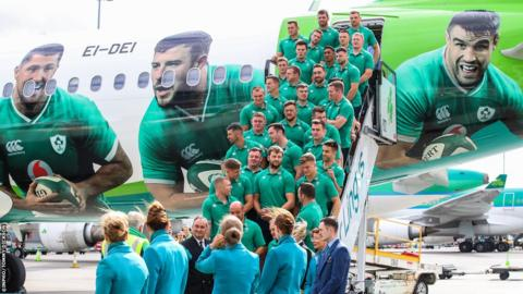 Also on Thursday, Ireland's players are taking an aircraft, featuring specially-commissioned livery, from Dublin airport