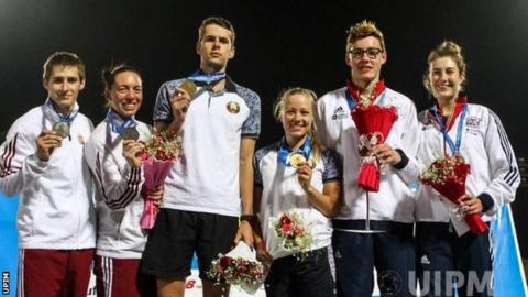 The podium after the mixed relay in Cairo