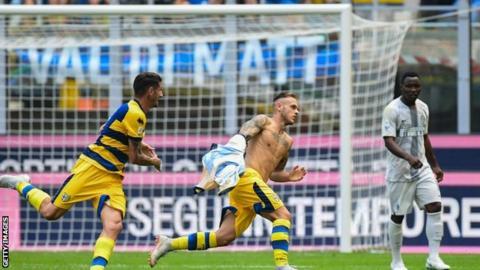 Dimarco celebrates goal