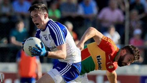 Monaghan's Shane Carey and Daniel St Ledger of Carlow in action at Cullen Park