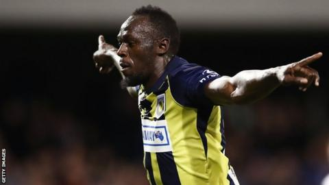 Usain Bolt does trademark 'Lightning Bolt' pose after scoring first pro goal