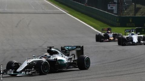 Lewis Hamilton (44) driving his Mercedes during the Belgian Grand Prix
