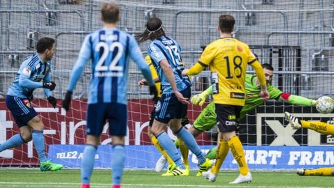 Kerim Mrabti (left) was in the same team at Djurgaardens as former West Brom skipper Jonas Olsson (centre)