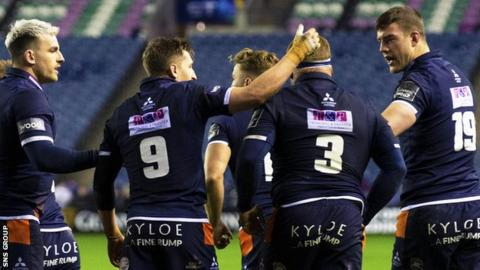 Edinburgh celebrate after WP Nel's opening try
