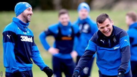 Kris Boyd and Lee McCulloch have a laugh in Rangers training
