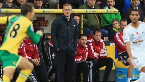 Garry Monk looks on as Swansea take on Norwich City