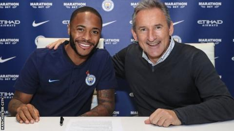 Raheem Sterling with Txiki Begiristain
