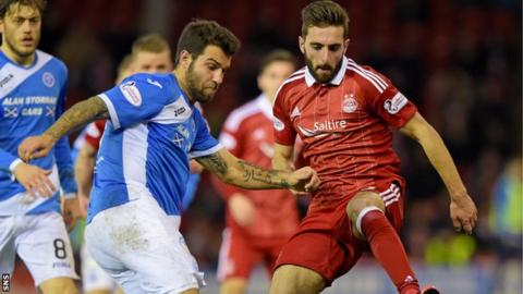 Graeme Shinnie moves in to tackle St Johnstone's Ricky Foster