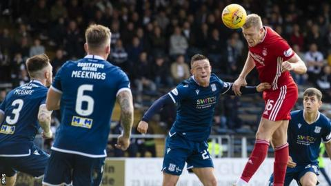 Sam Cosgrove rises highest in the box to head in Aberdeen's second goal