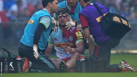 Jack Clifford picks up a head injury during Saracens v Harlequins