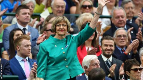 JULY 02: Margaret Court is announced to the crowed on day six of the Wimbledon Lawn Tennis Championships at the All England Lawn Tennis and Croquet Club on July 2, 2016 in London, England.