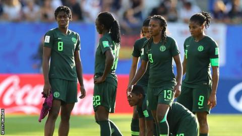 Nigeria players following defeat by Germany