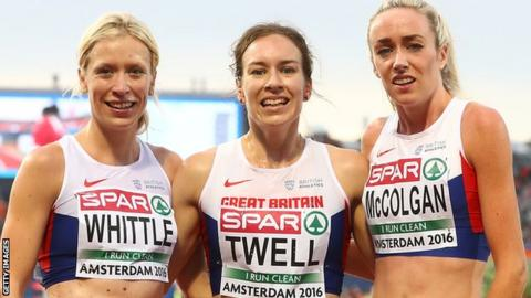 Laura Whittle, Steph Twell and Eilish McColgan