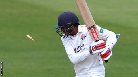 Haseeb Hameed is bowled out playing for Lancashire against Northants last month.