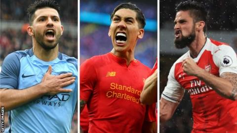 Manchester City's Sergio Aguero, Liverpool's Roberto Firmino and Arsenal's Olivier Giroud