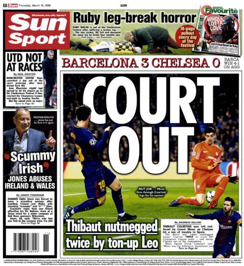 Sun back page on Thursday