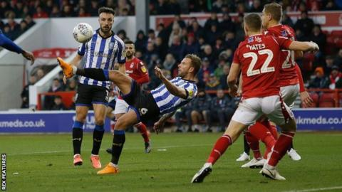 Jordan Rhodes completes his hat-trick with overhead kick for Sheffield Wednesday