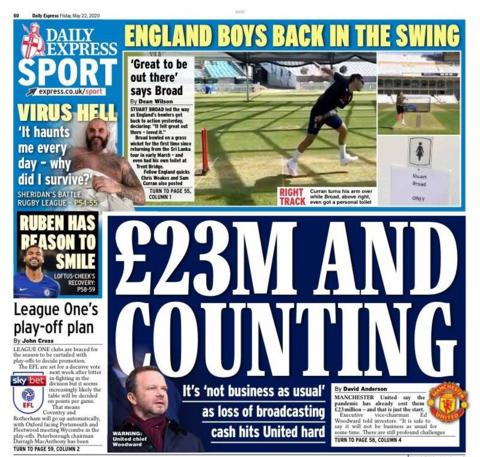 Friday's Express back page