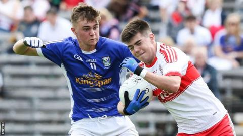 Cian Madden and Simon McErlain in action during Sunday's Ulster minor final at Clones