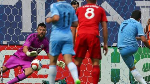 Chris Konopka in action for Toronto against New York City