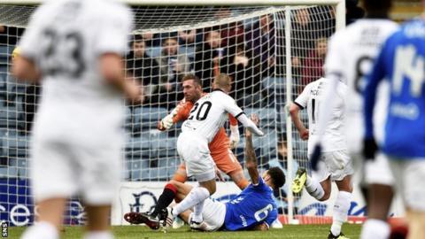 Dundee striker Kenny Miller scores against Rangers