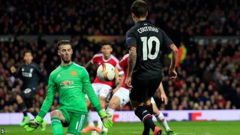 Philippe Coutinho scores against Manchester United